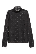 Mesh polo-neck top - Black/Sparkly stones - Ladies | H&M CN 2