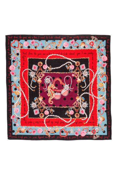 Patterned silk scarf - Black/Red - Ladies | H&M