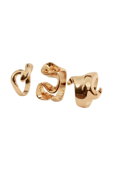 3-pack rings - Gold-coloured - Ladies | H&M IE 1
