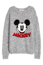 Fine-knit jumper - Grey/Mickey Mouse - Ladies | H&M IE 2