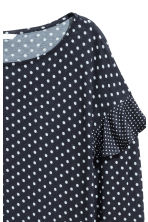 Long-sleeved flounced top - Dark blue/Spotted - Ladies | H&M CN 3
