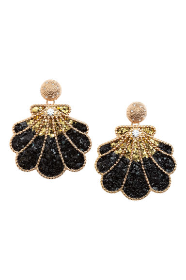 Shell-shaped earrings - Black/Gold-coloured - Ladies | H&M CN 1