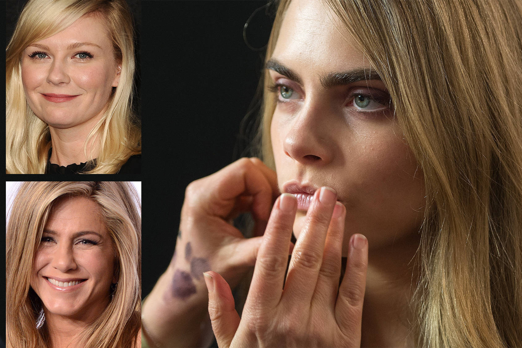 Kirsten Dunst, Jennifer Aniston and Cara Delevingne know the secrets to fuller lips, Getty Images.