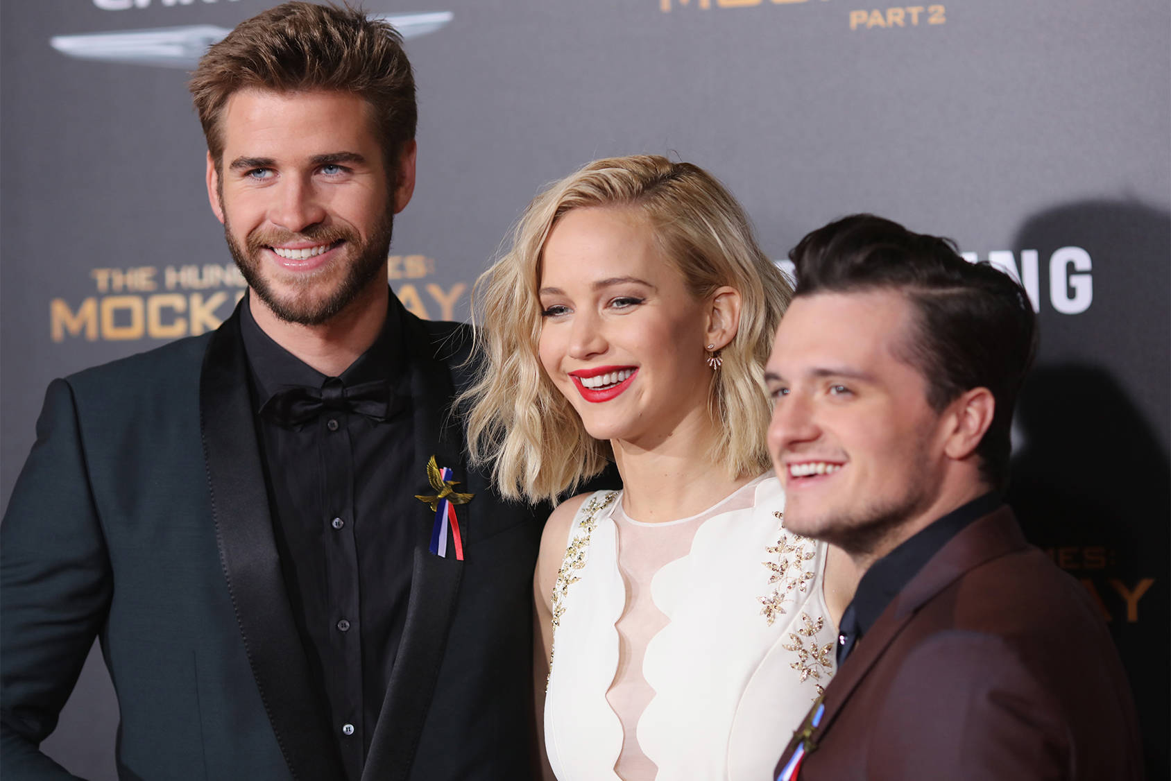 Liam Hemsworth, Jennifer Lawrence and Josh Hutcherson from The Hunger Games, Getty Images.