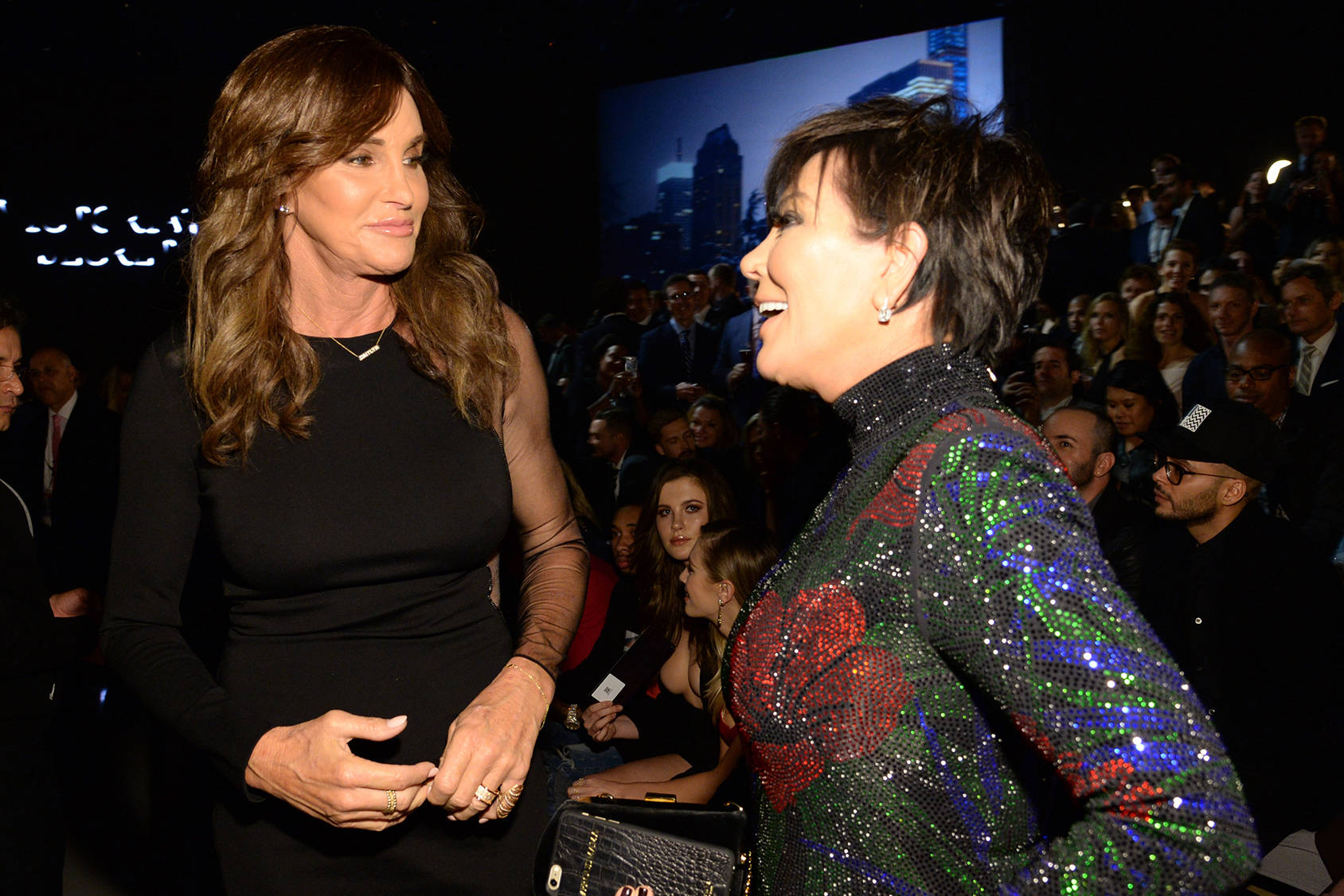 Caitlyn and Kris Jenner cheering on daughter Kendall Jenner, Getty Images.