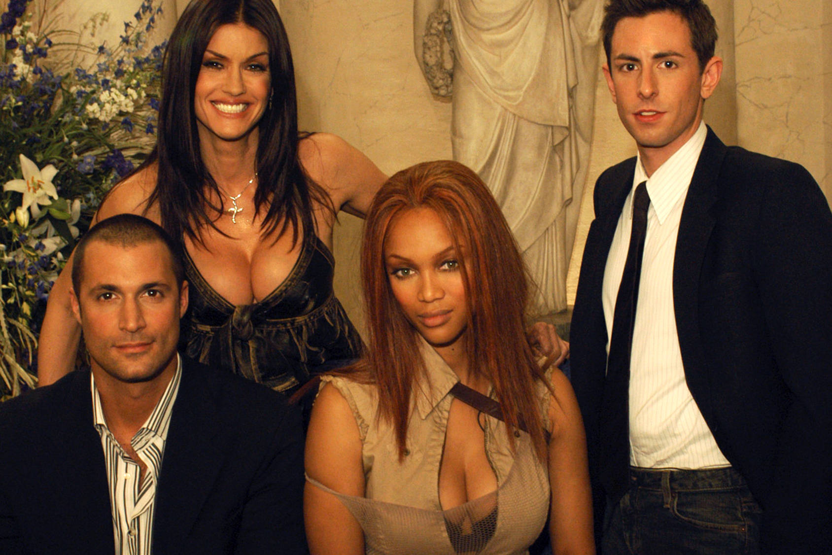 Judges with a lot of life lessons: Nigel Barker, Janice Dickinson, Tyra Banks, and Eric Nicholson, Getty Images.