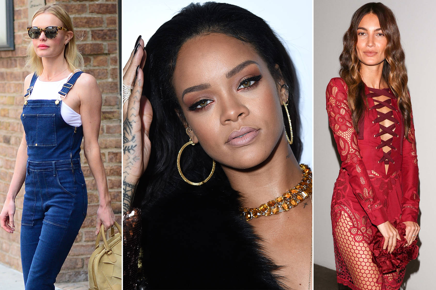 Cate Bosworth, Rihanna and Lily Aldridge sporting this year's big trends, Getty Images.
