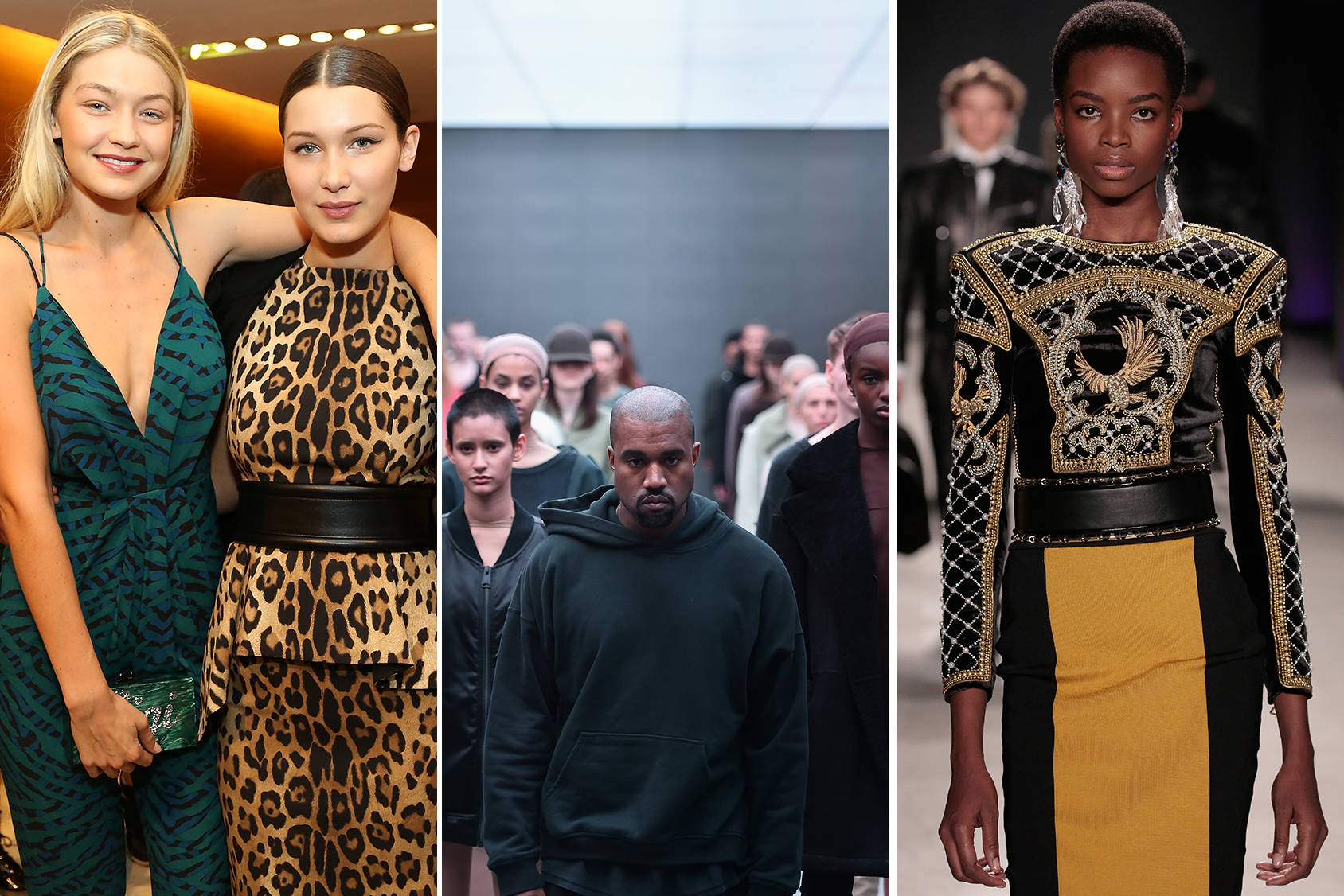 Gigi and Bella Hadid, Kanye West's Yeezy collection and the collaboration between Balmain and H&M were some of this year's biggest fashion stories, Getty Images.