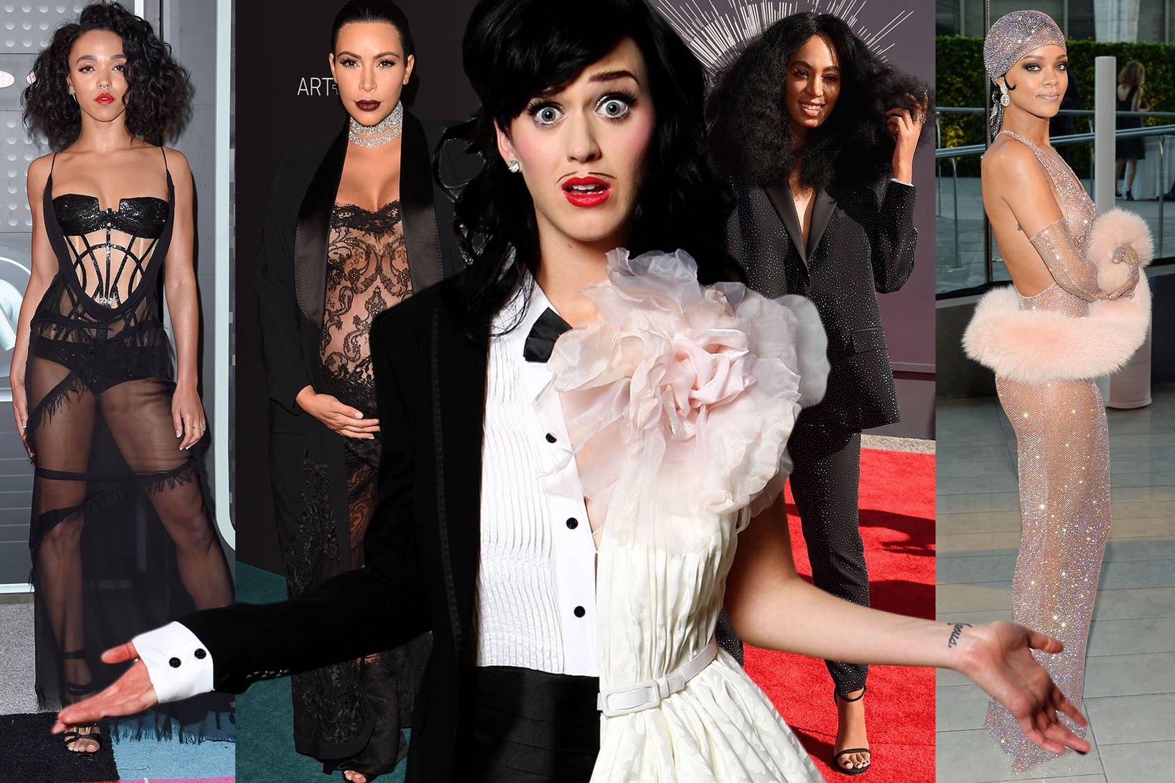 Rulers of the red carpet: FKA Twigs, Kim Kardashian, Katy Perry, Solange Knowles and Rihanna, Getty Images.
