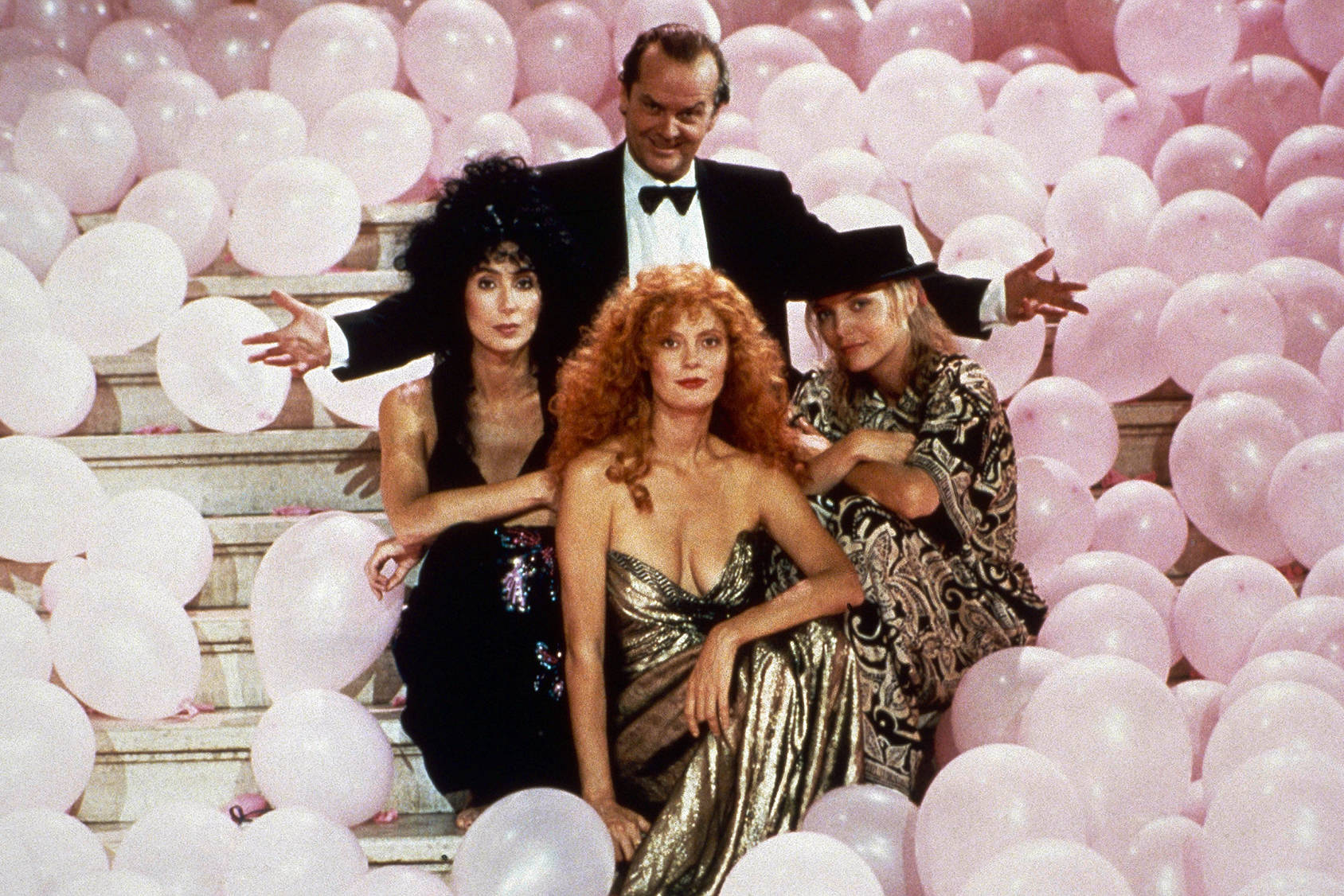 Cher, Susan Sarandon, Michelle Pfeiffer and Jack Nicholson in The Witches of Eastwick, All Over Press.