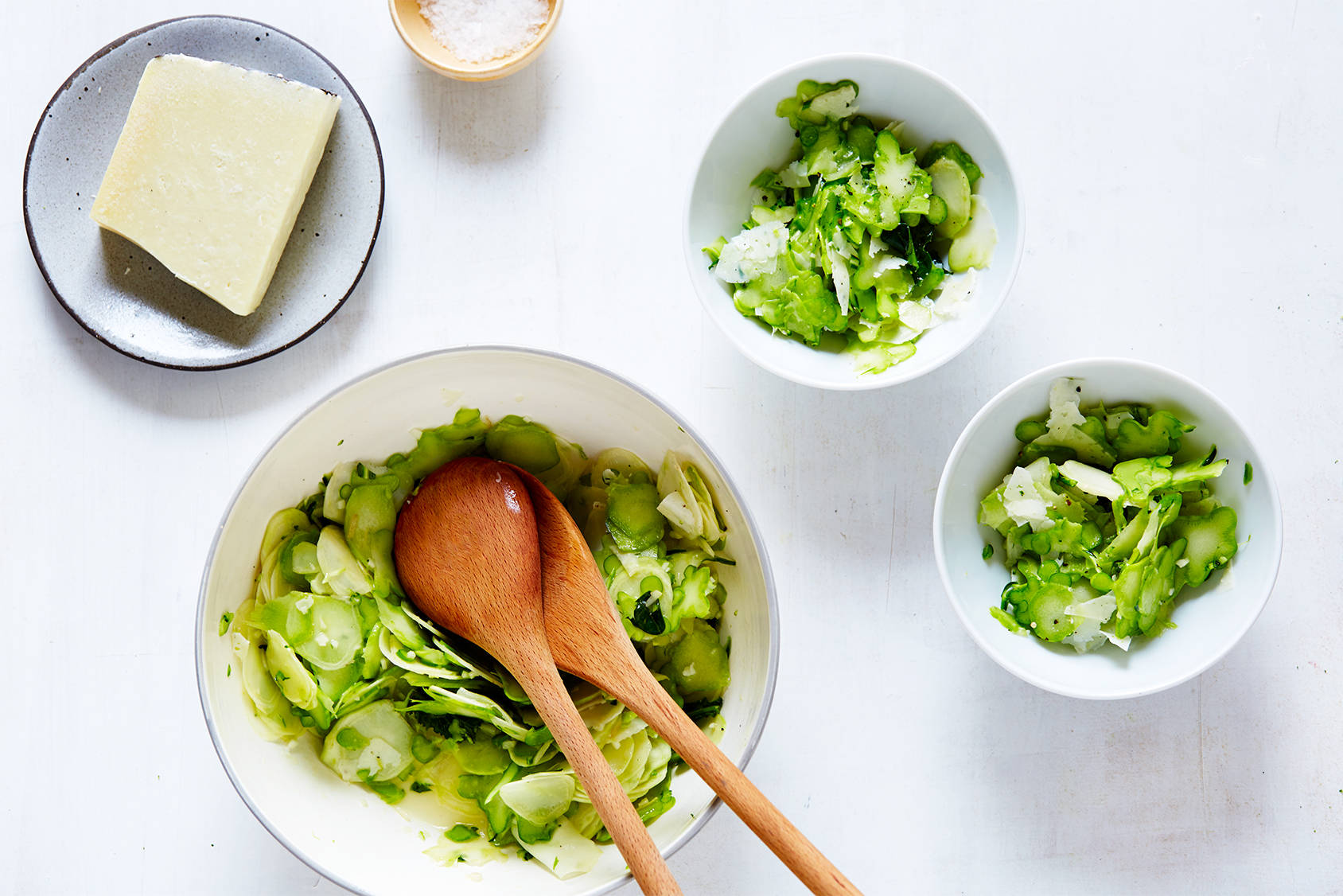 Broccoli stem salad with lemon & pecorino.