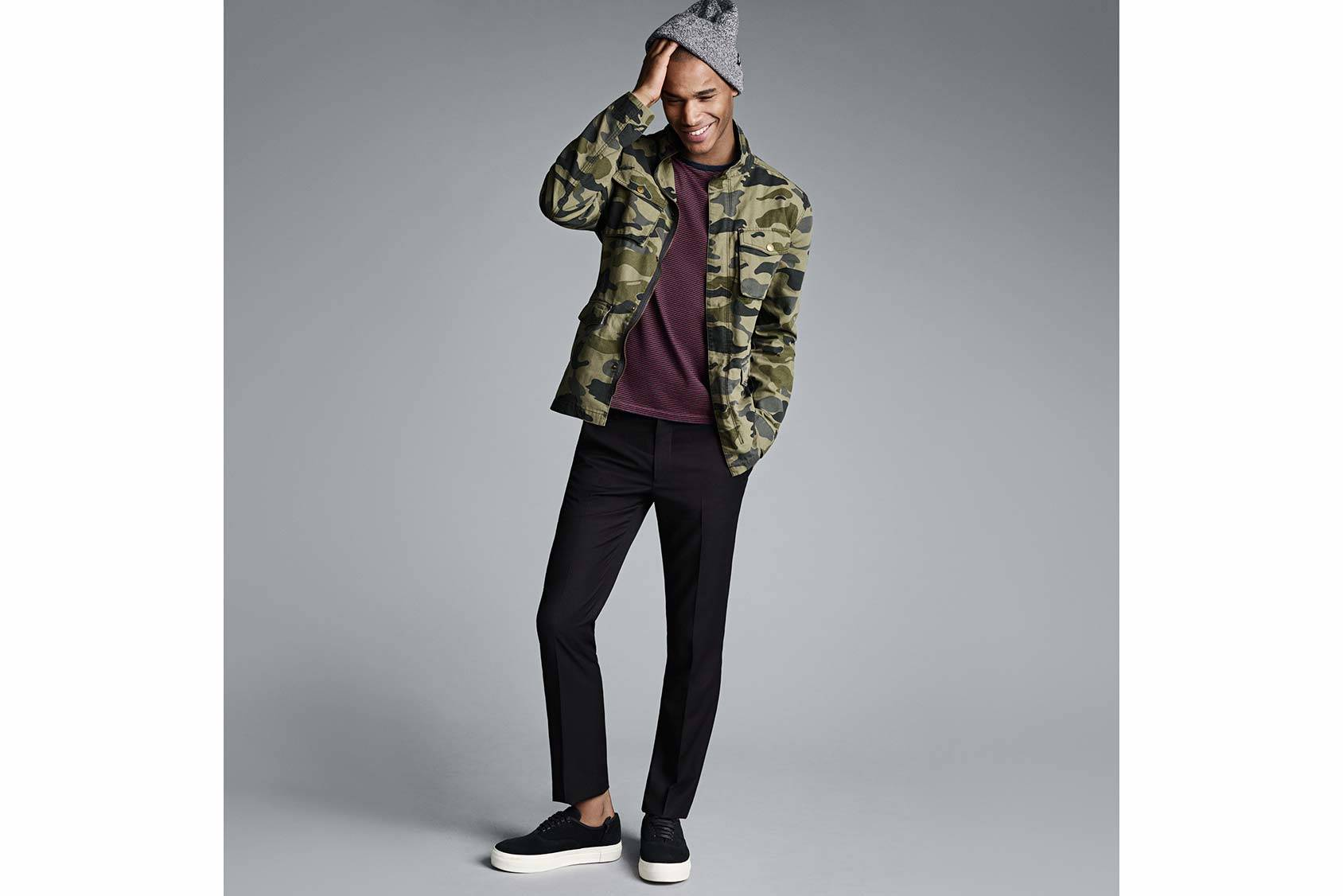 Model Sacha M'Baye in H&M's field jacket.