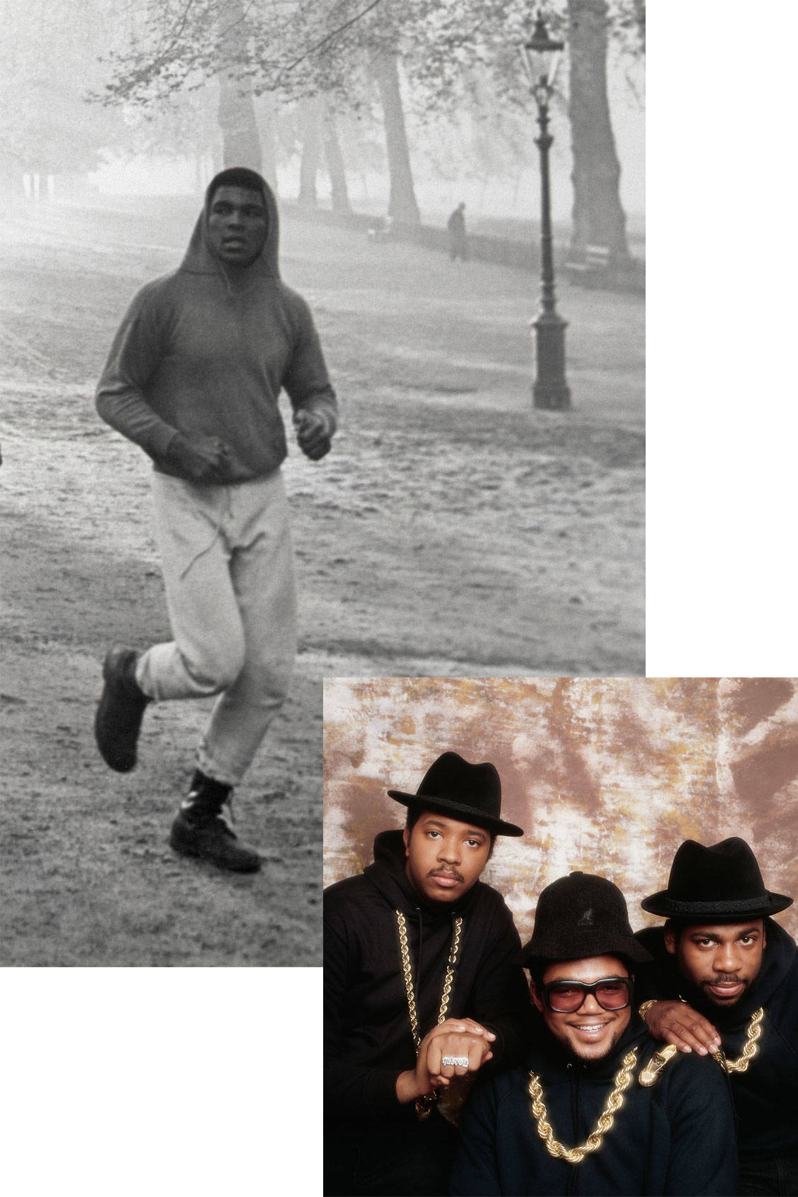 Boxer Muhammed Ali in a hoodie 1966 and hip hop group Run-D.M.C in 1987, All Over Press