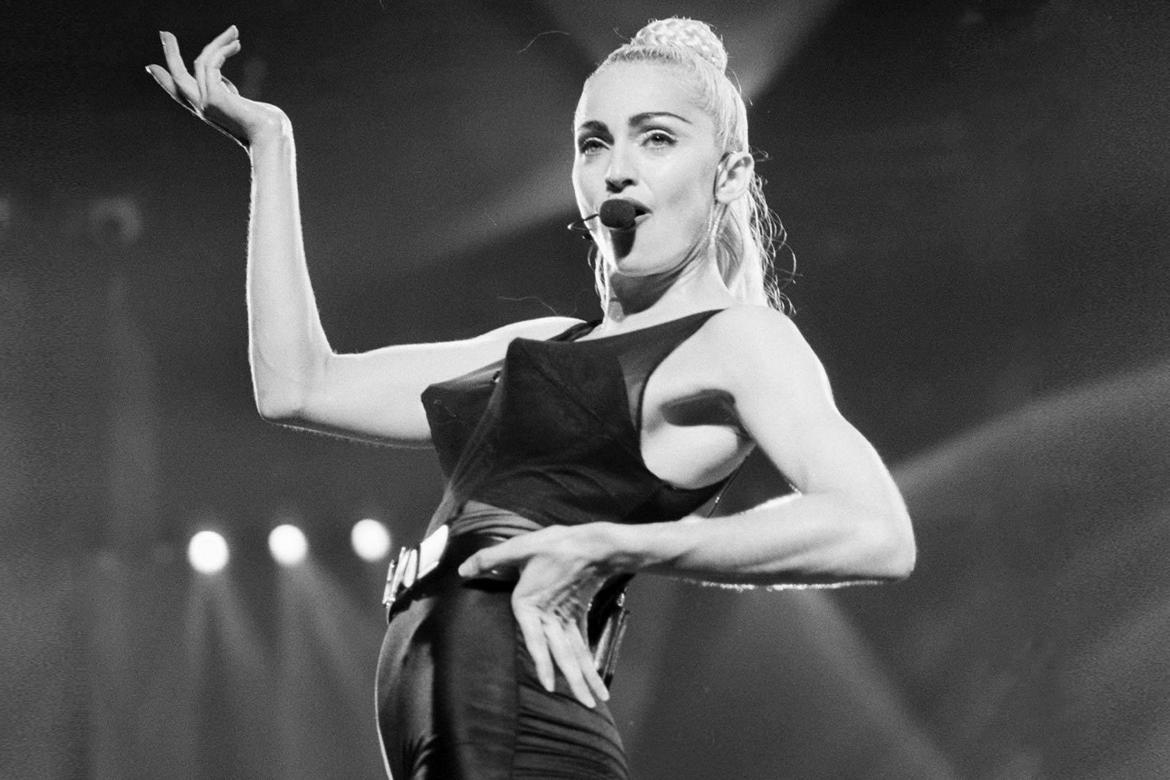 Madonna in the iconic cone brassiere for the Blond Ambition tour, Getty Images.