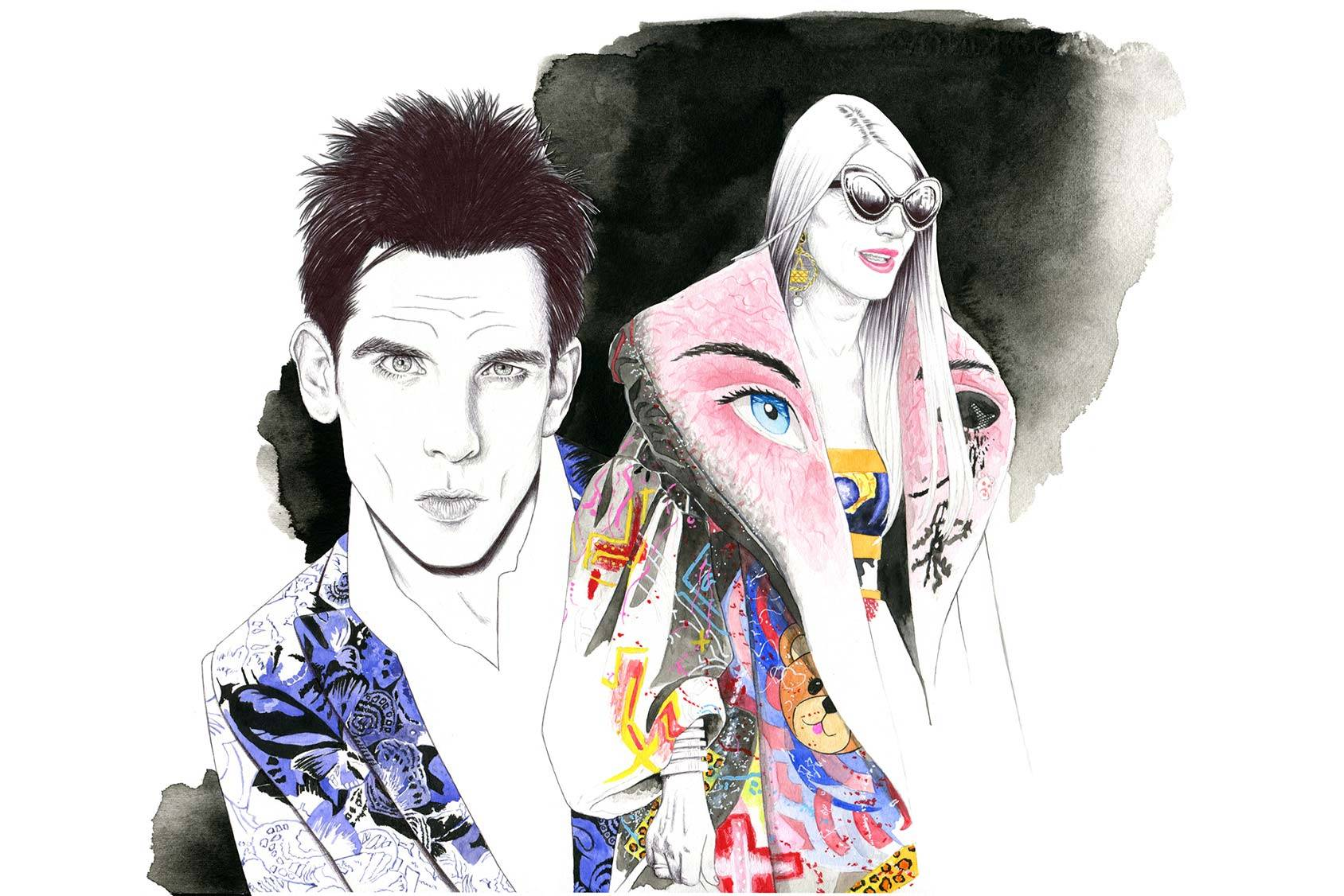 Zoolander flashing the Blue Steel and Anna Dello Russo – a natural character in the new movie, Florian Meacci.