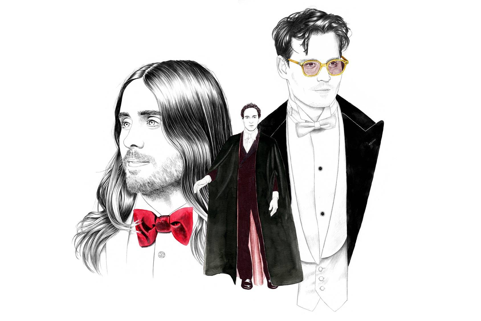 Jared Leto, Zac Posen and Johnny Depp. Illustration: Florian Meacci.