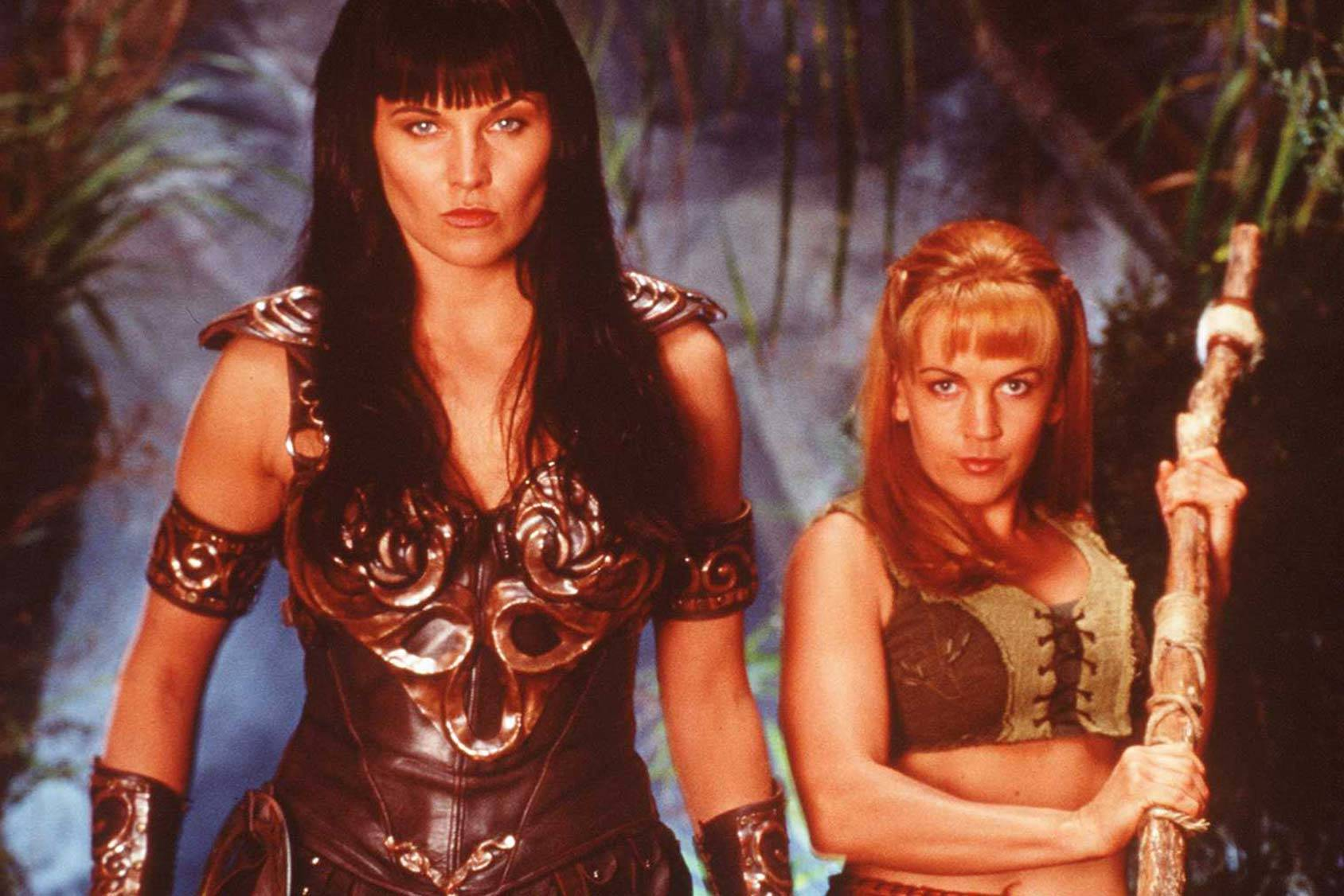 Xena, the mighty Warrior Princess, with her sidekick Gabrielle, Getty Images.