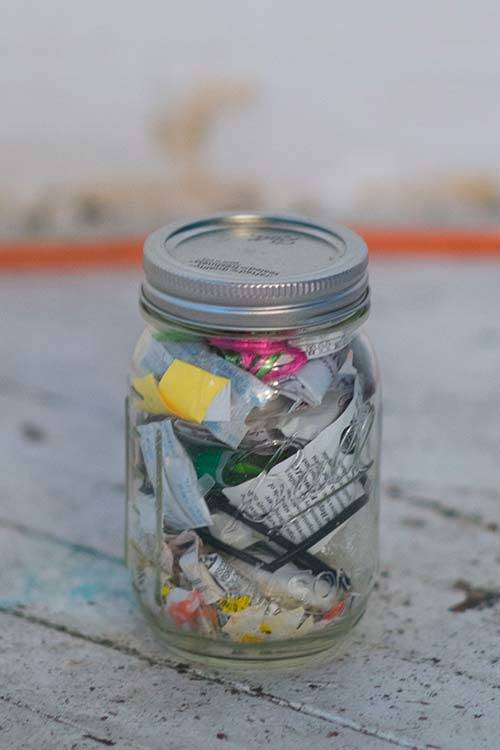 Lauren Singer's trash jar contains everything she has not been able to recycle or compost from the past two years, Erwin Caluya.