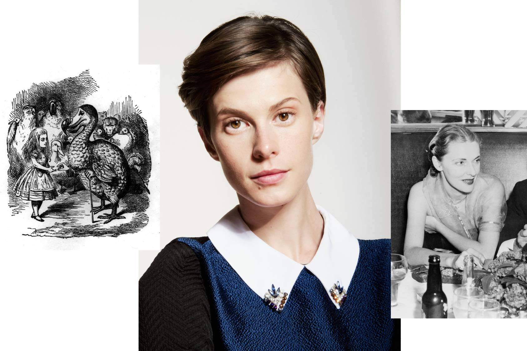 "Things that has inspired Elettra Wiedemann: Alice in Wonderland and Lady Nancy ""Slim"" Keith, All Over Press."