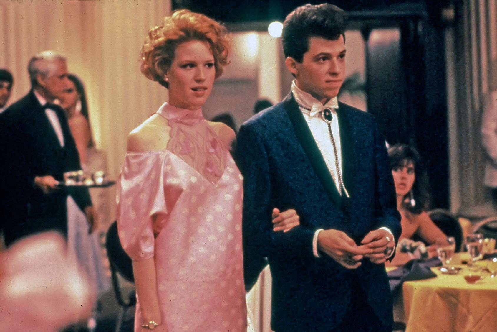 "A classic prom scene: Molly Ringwald and Jon Cryer in the 80s movie ""Pretty in Pink"", All Over Press."
