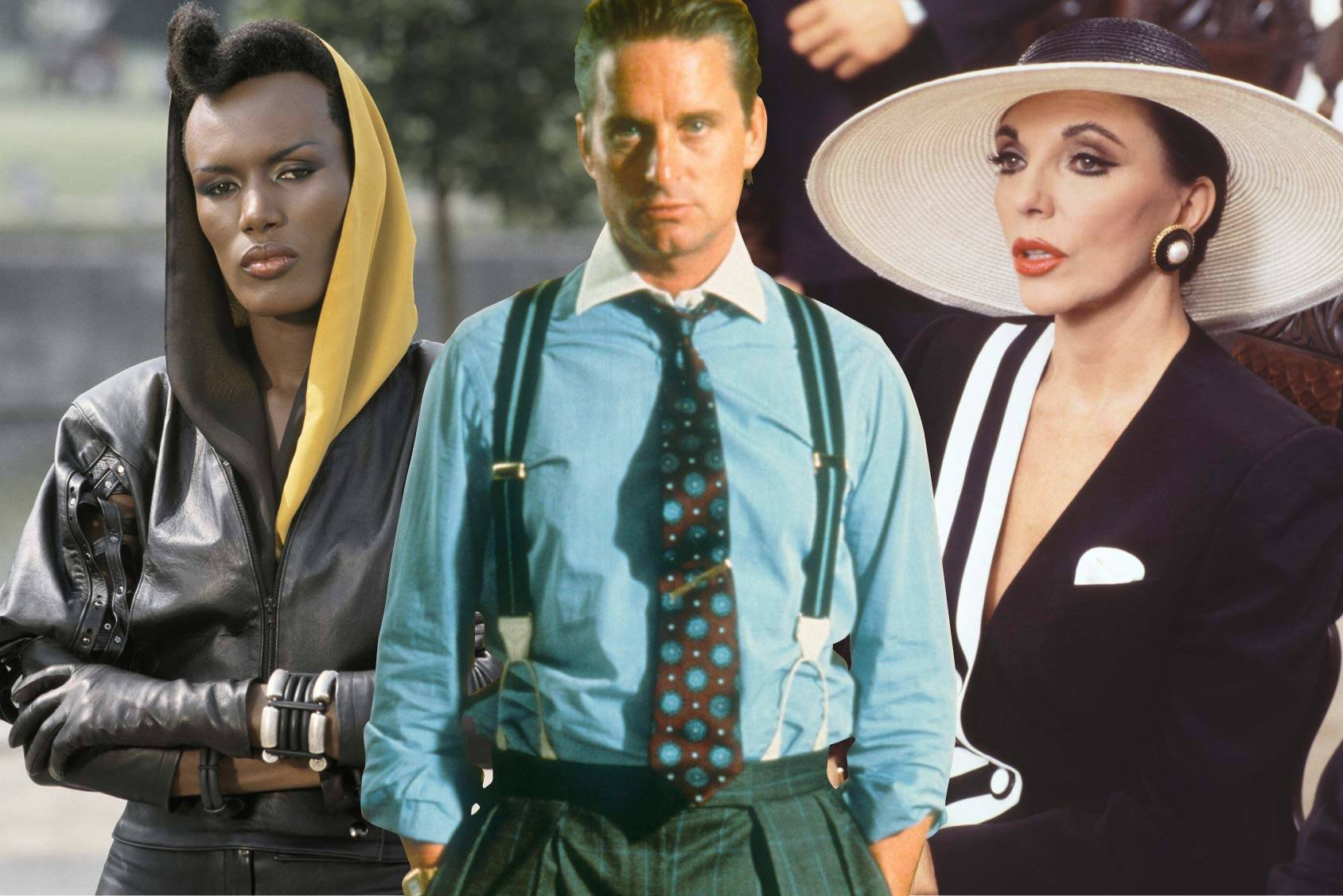 Well dressed villains May Day, Gordon Gekko and Alexis Colby, All Over Press.