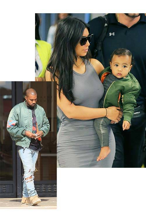 Fans of the bomber jacket: The Kardashian/West family, All Over Press.