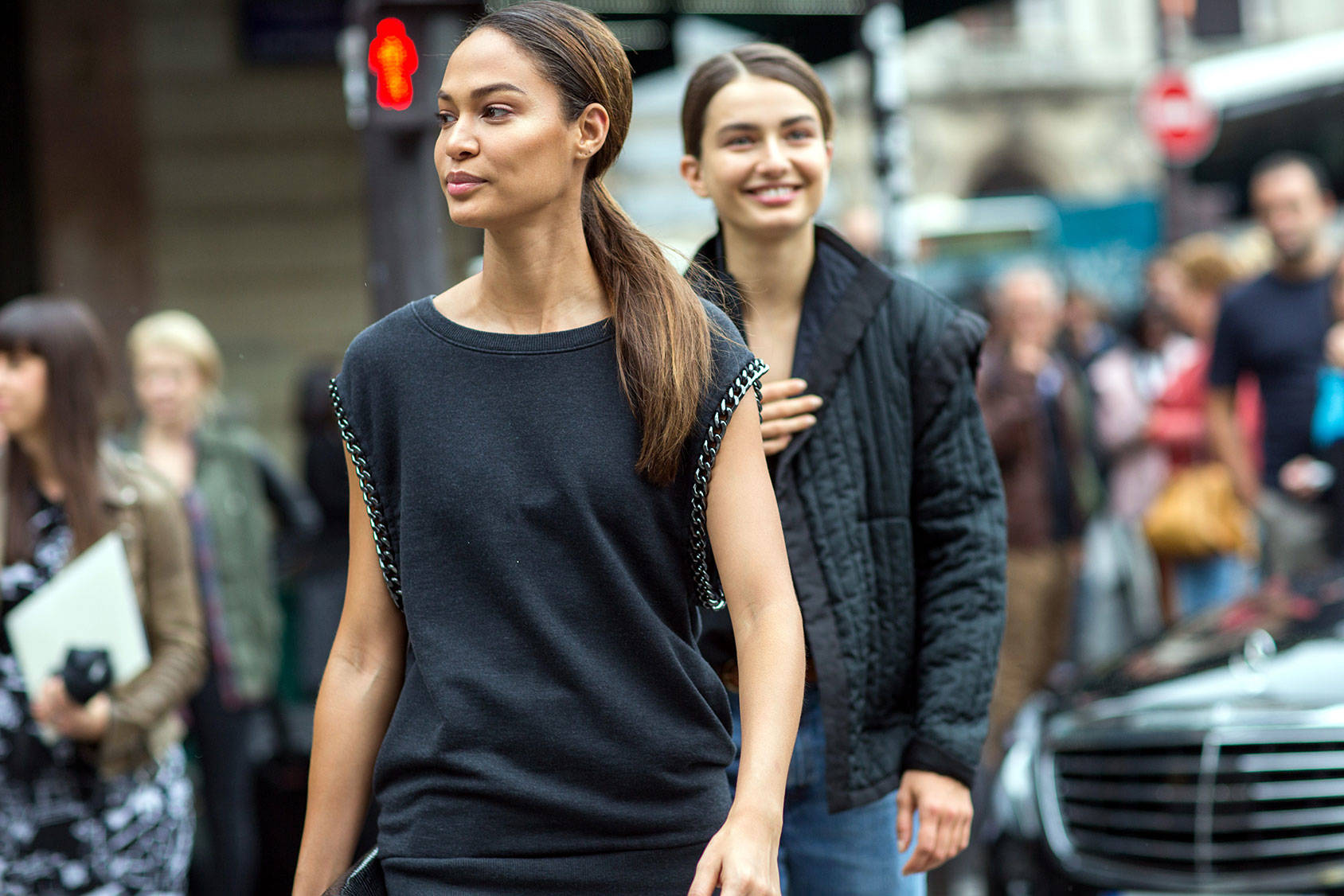 Models Joan Smalls and Andreea Diaconu off-duty at the Paris fashion week, spring/summer 2015, All Over Press.