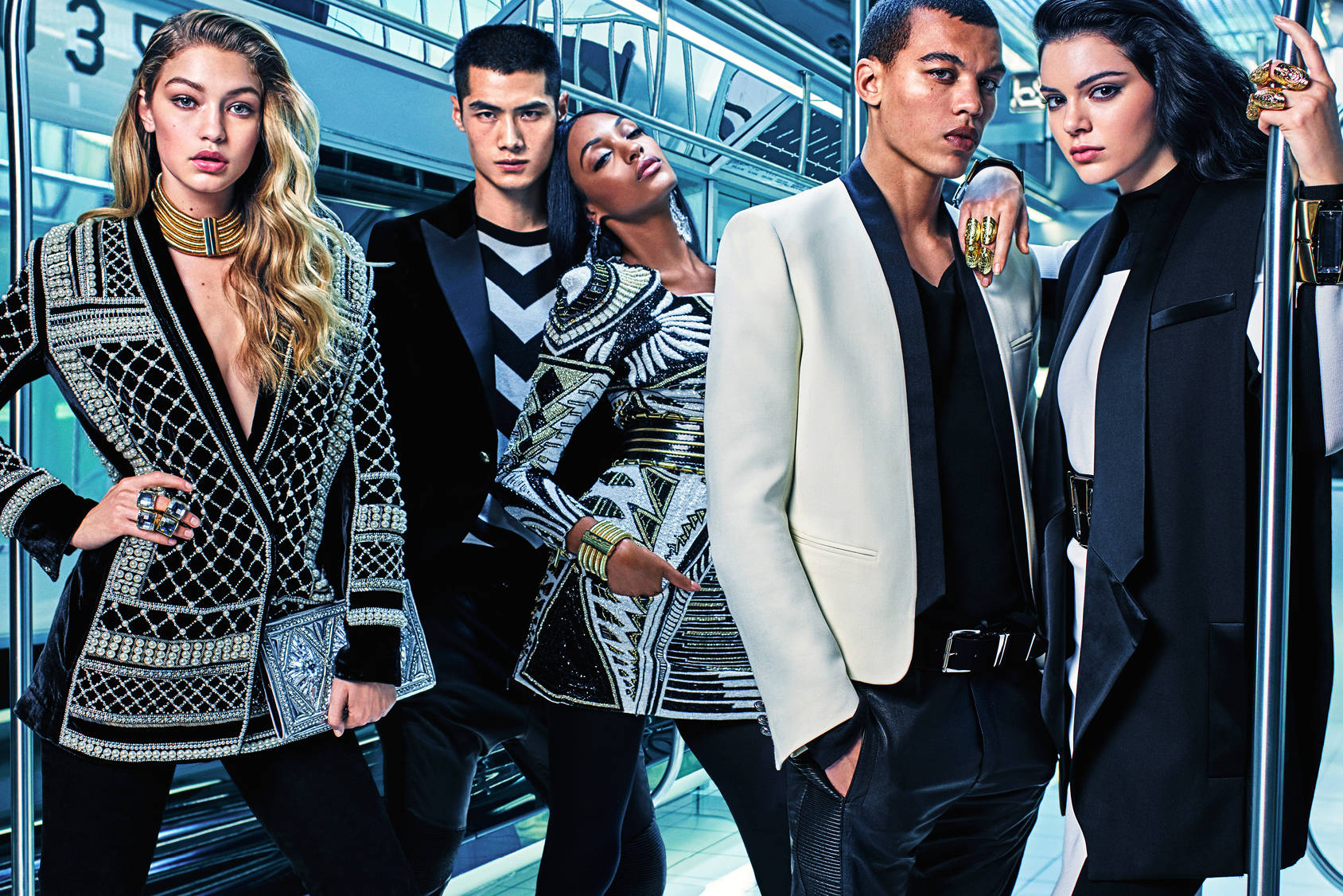 Gigi Hadid, Jourdan Dunn, Kendall Jenner, Hao Yun Xiang and Dudley O'Shaughnessy photographed by Mario Sorrenti.