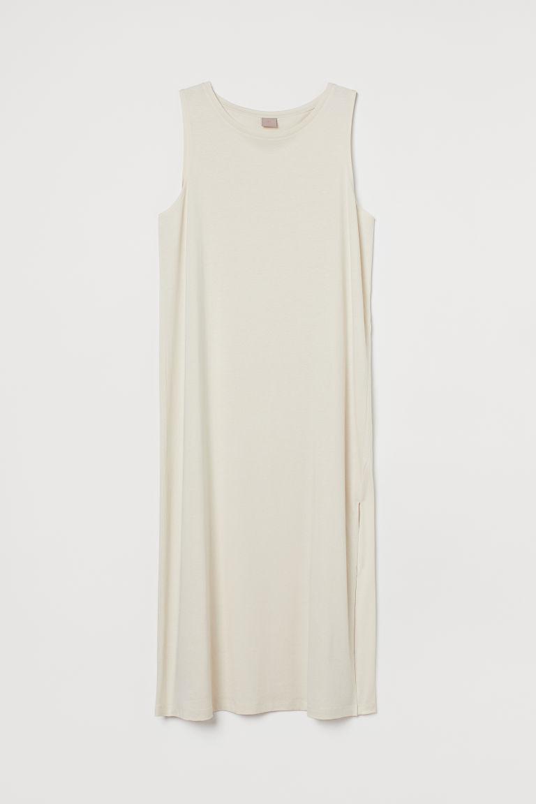 H & M - H & M+ 開衩平紋洋裝 - 米黃色