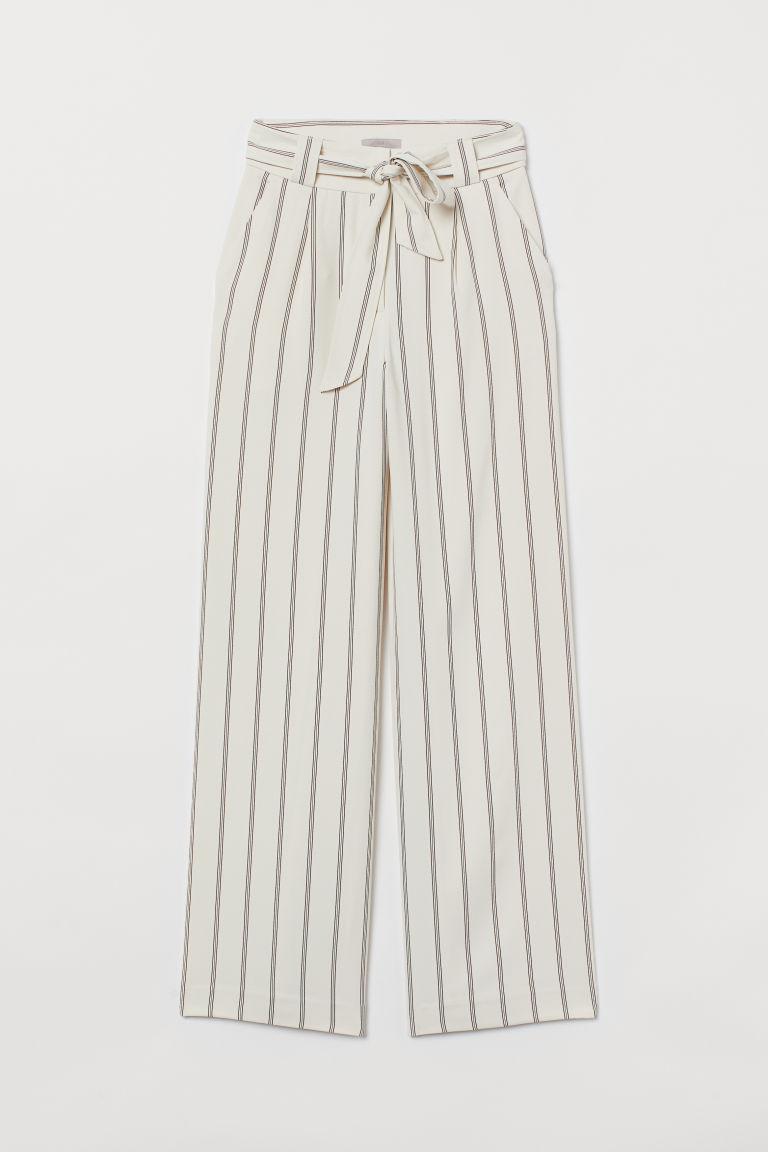 H & M - 綁帶寬管褲 - 米黃色