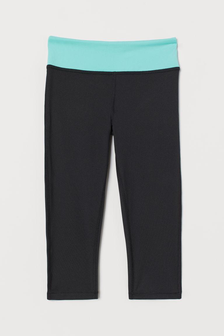 H & M - 緊身七分運動褲 - 黑色