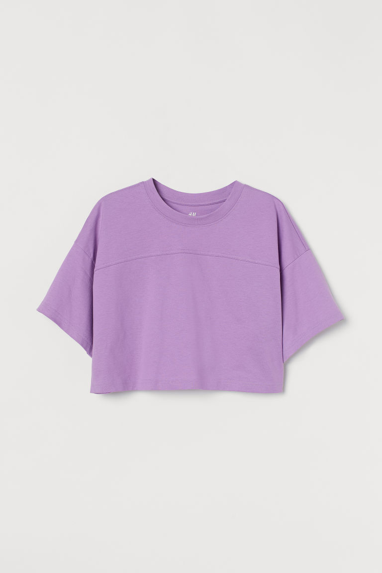 H & M - 短版運動上衣 - 紫色