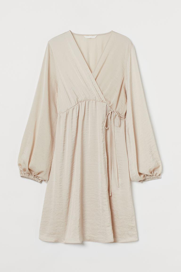 H & M - MAMA 交疊式洋裝 - 米黃色