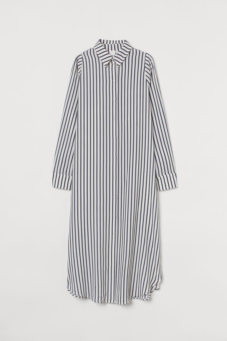 H & M - 中長版襯衫式洋裝 - 白色