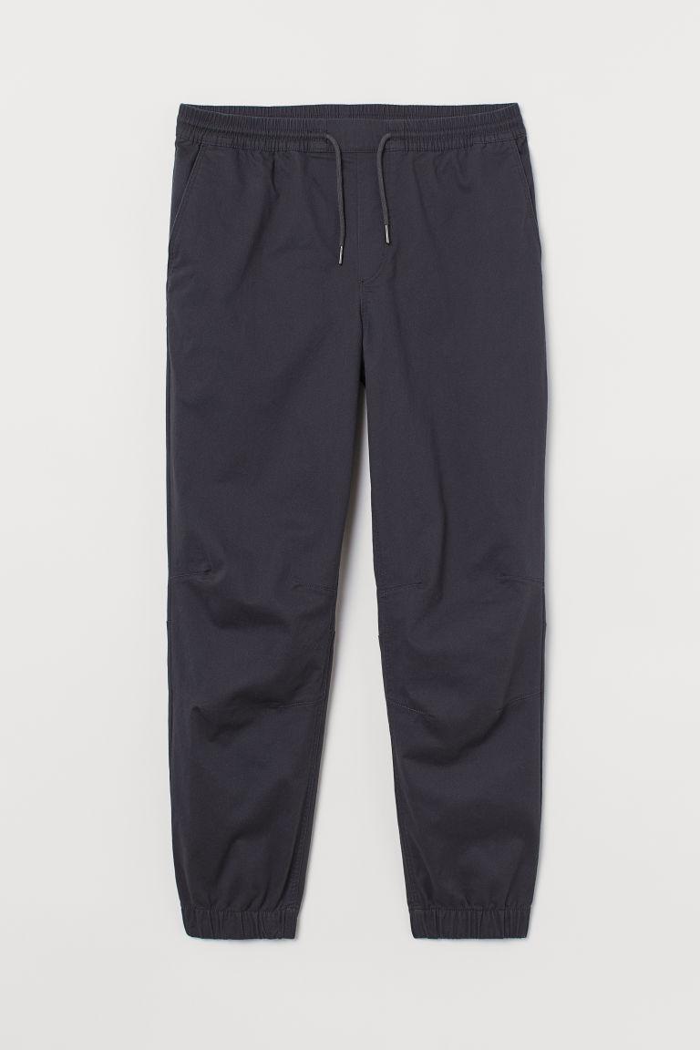H & M - 棉質斜紋慢跑褲 - 灰色