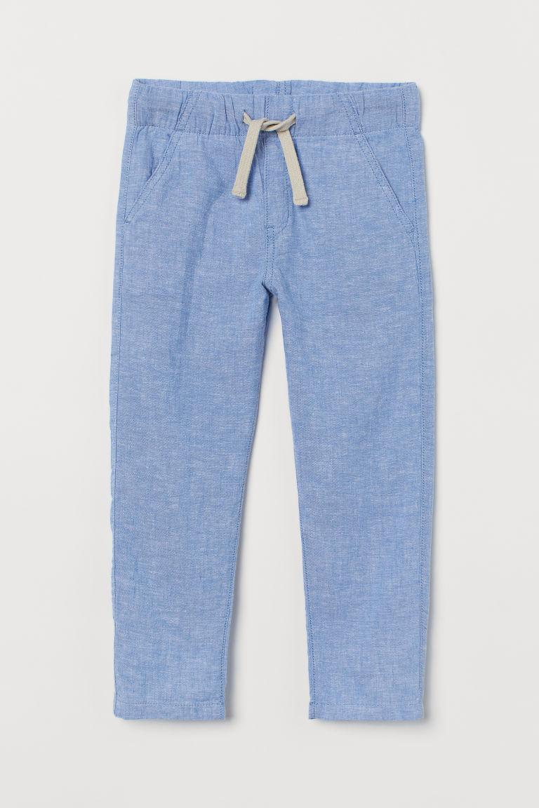 H & M - 貼身亞麻混紡卡其褲 - 藍色