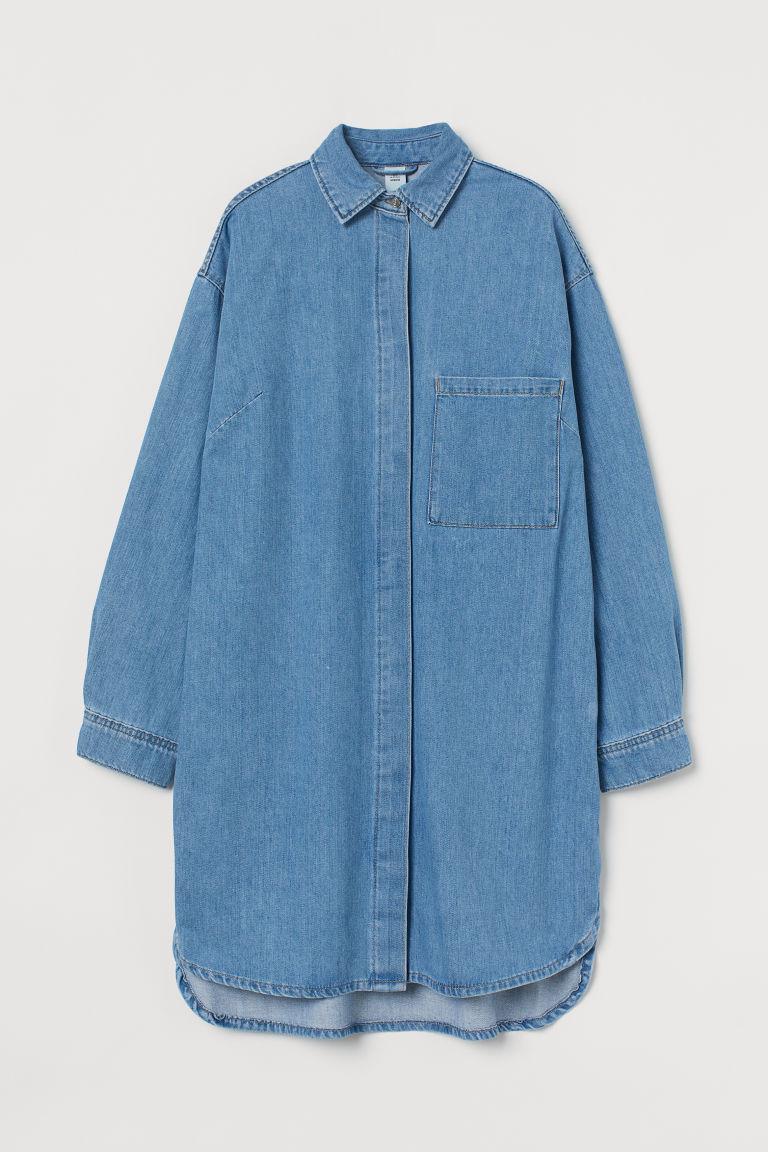 H & M - 加大碼丹寧洋裝 - 藍色