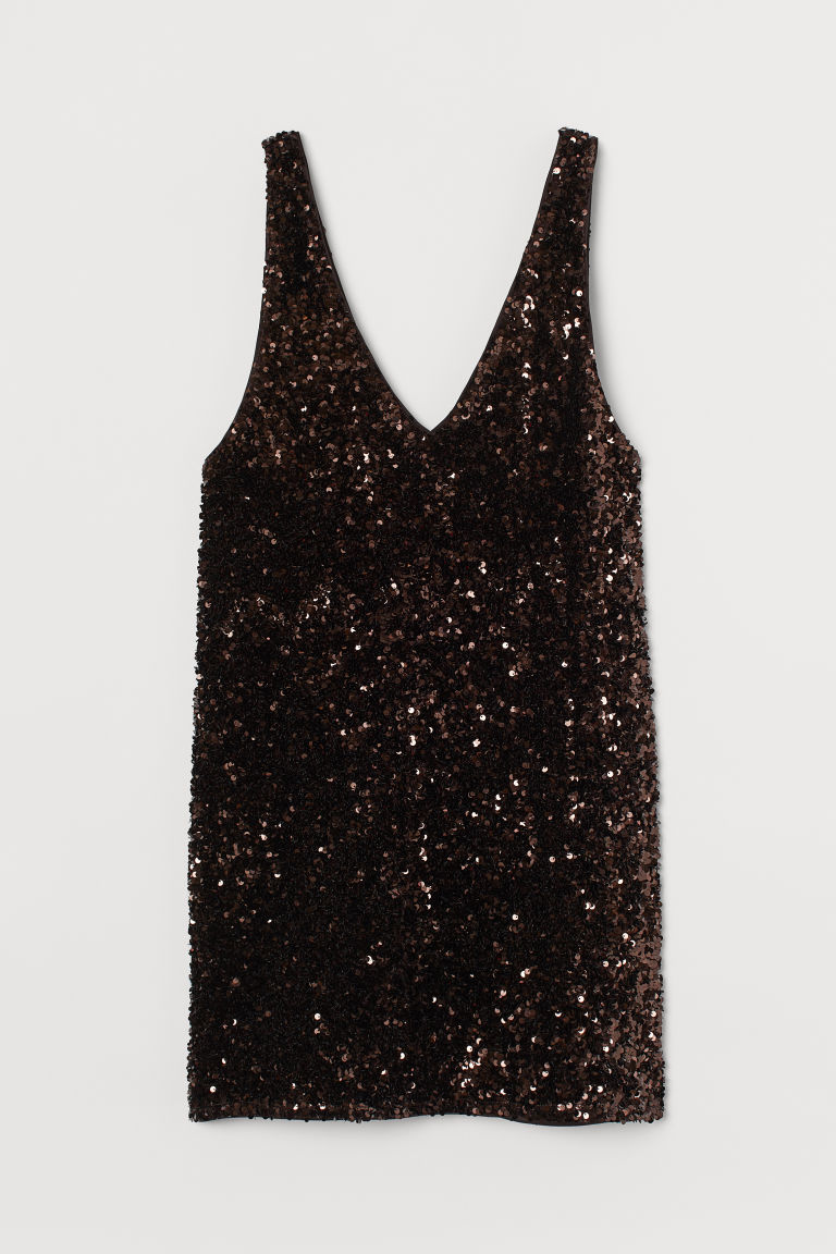 H & M - V領亮片洋裝 - 褐色