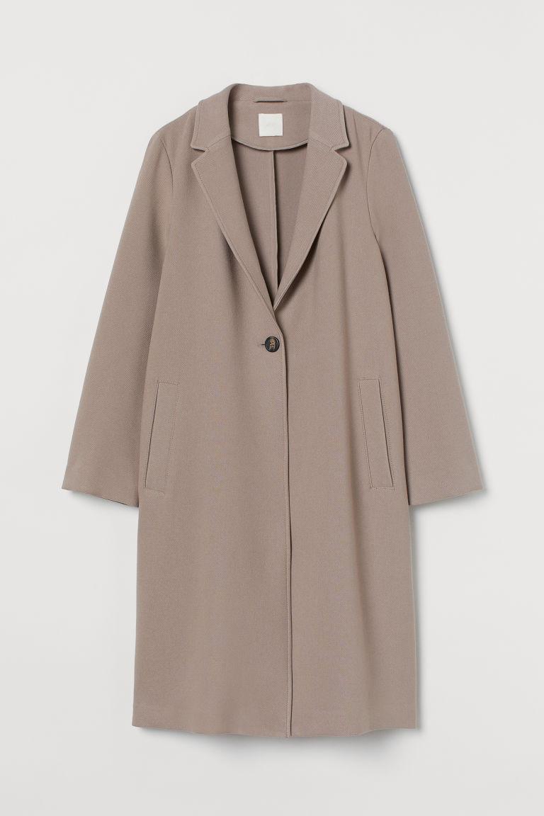 H & M - 單排扣大衣 - 褐色