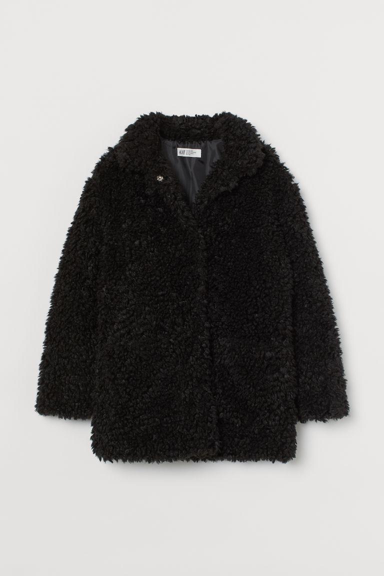 H & M - 泰迪熊大衣 - 黑色