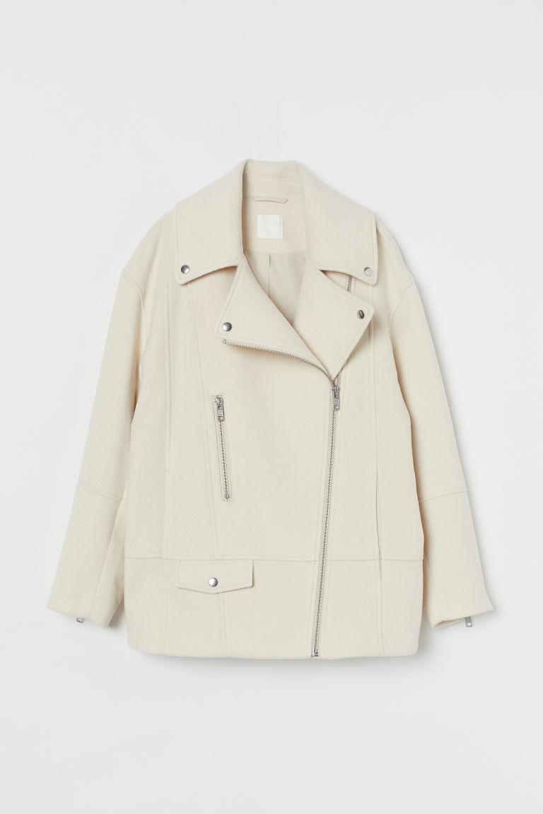 H & M - 加大碼騎士外套 - 米黃色