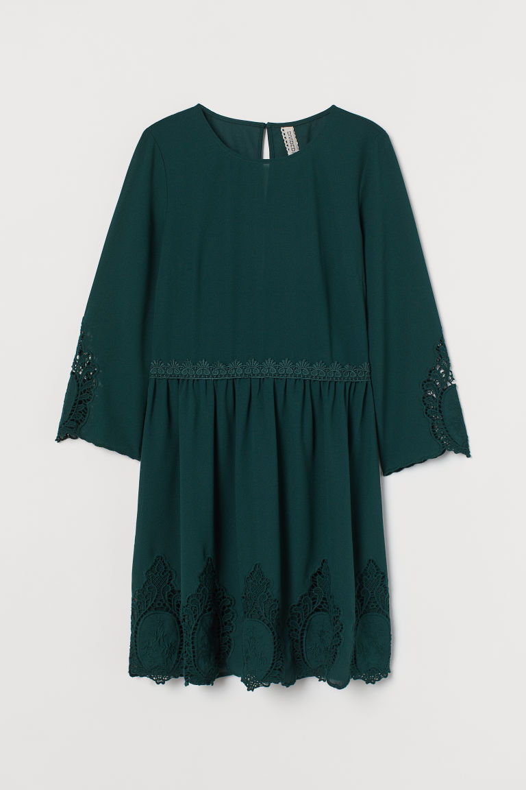 H & M - 蕾絲裝飾洋裝 - 綠色