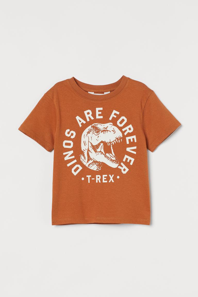 H & M - 圖案T恤 - 橙色