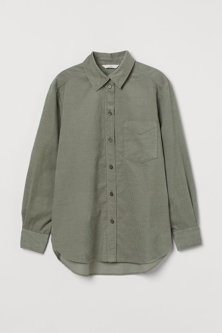 H & M - 絨布襯衫 - 綠色