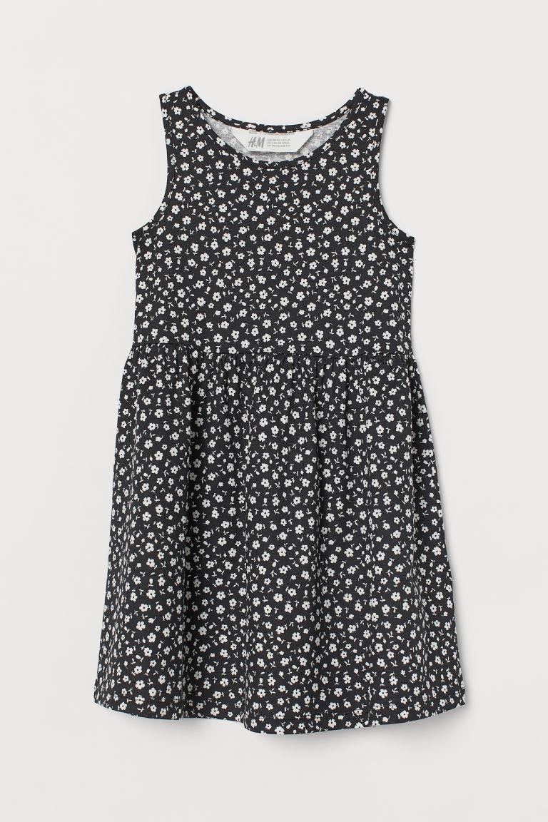 H & M - 印花平紋洋裝 - 黑色