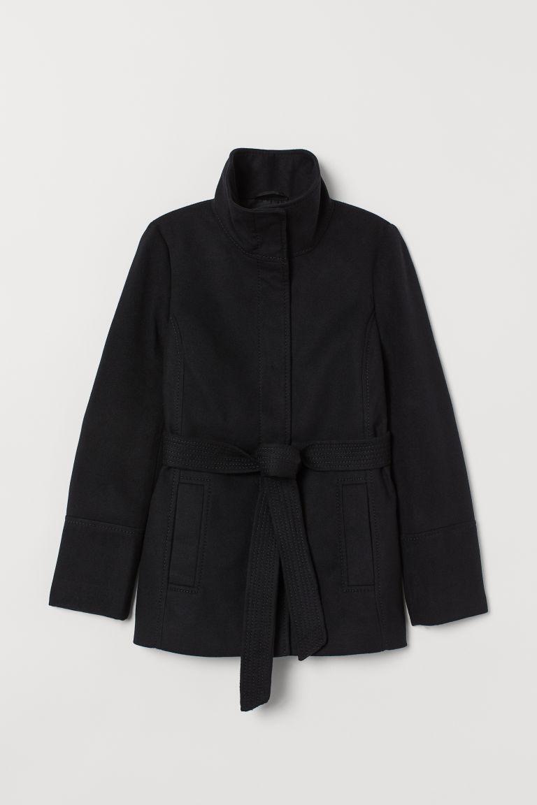 H & M - 綁帶外套 - 黑色