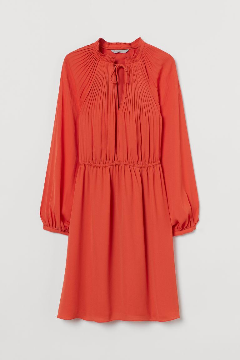 H & M - 百褶洋裝 - 橙色
