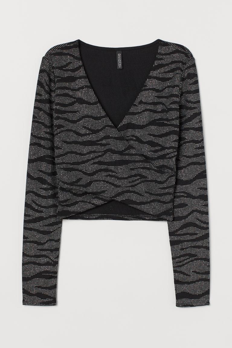 H & M - 金蔥V領上衣 - 黑色