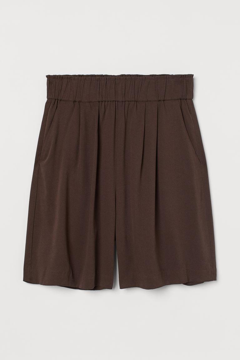 H & M - 萊賽爾混紡短褲 - 褐色