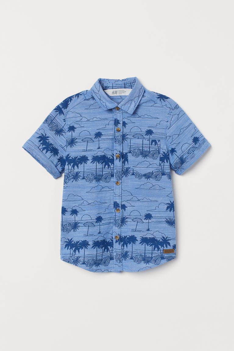 H & M - 短袖襯衫 - 藍色